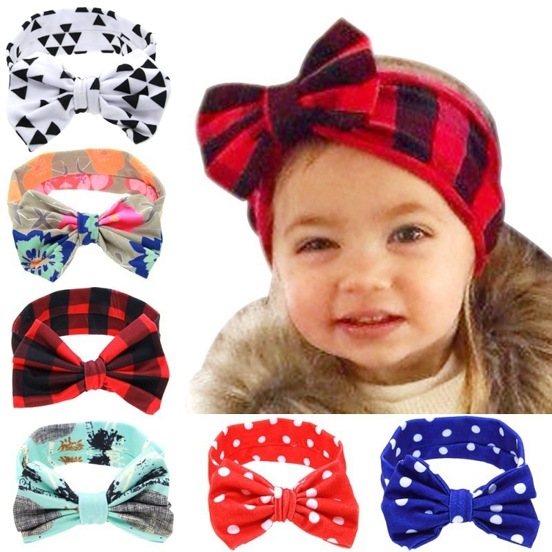 Yundfly Infant Flower Bow Hairband Turban Knot Rabbit Ear Headband Kids Girl Child Headwraps Dot Toddler Hair Band Accessories