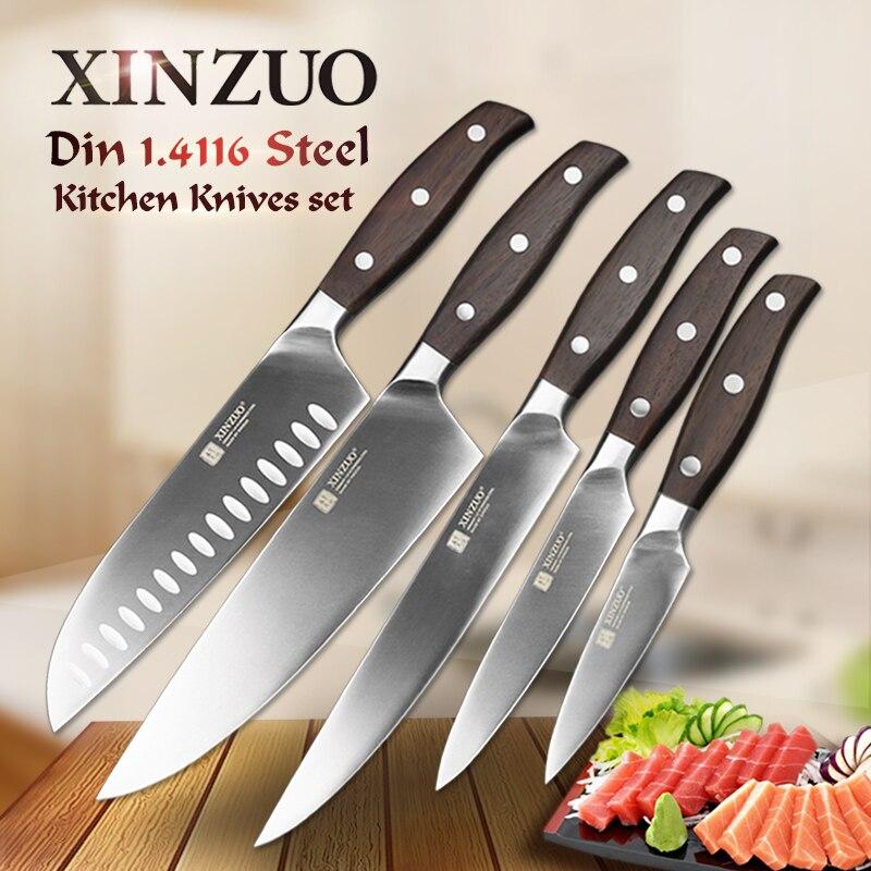 XINZUO באיכות גבוהה 3.5 + 5 + 8 + 8 + 7 אינץ שירות קילוף קופיץ שף Santoku סכין נירוסטה פלדה לבשל כלים סכיני מטבח