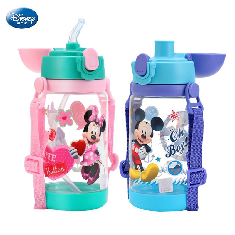 520 ml Minnie de Disney Mickey Mouse taza de alimentación coches botella con pajita botella taza