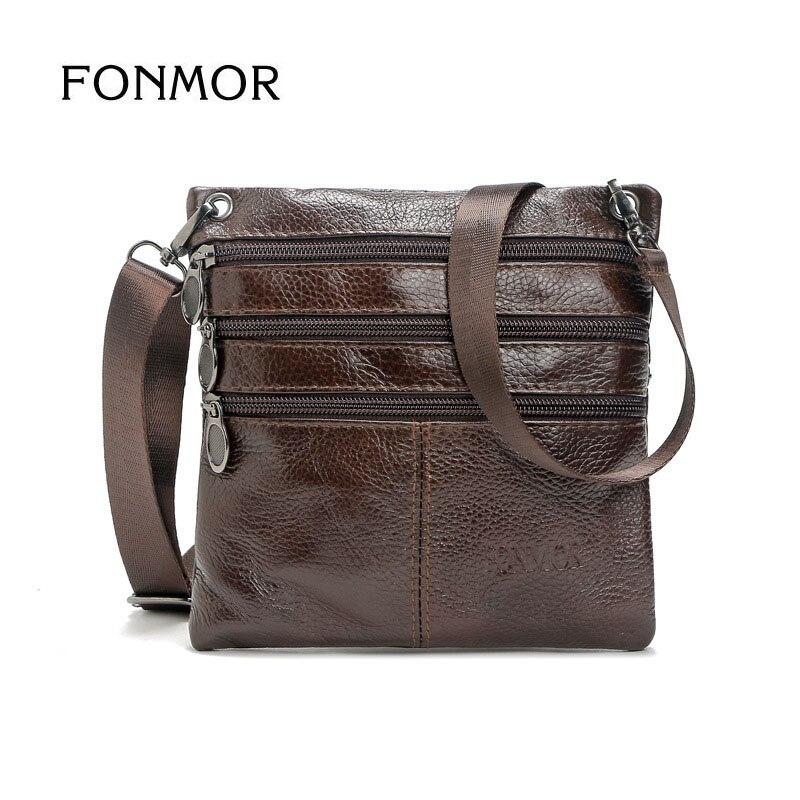 FONMOR New Men's Solid Real Leather Messenger Bag Vintage Small Cross Body Bags Genuine Leather Shoulder Bag For Man