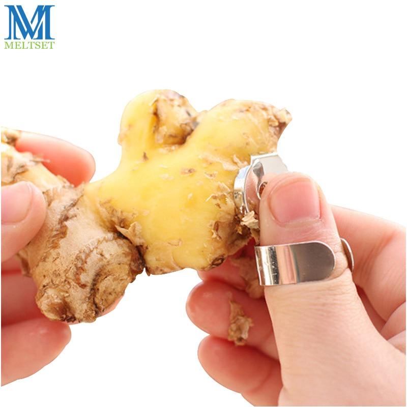 Meltset aço inoxidável liga alho gengibre descascador cozinha gadget chinês chestnut cutter zester frutas ferramentas