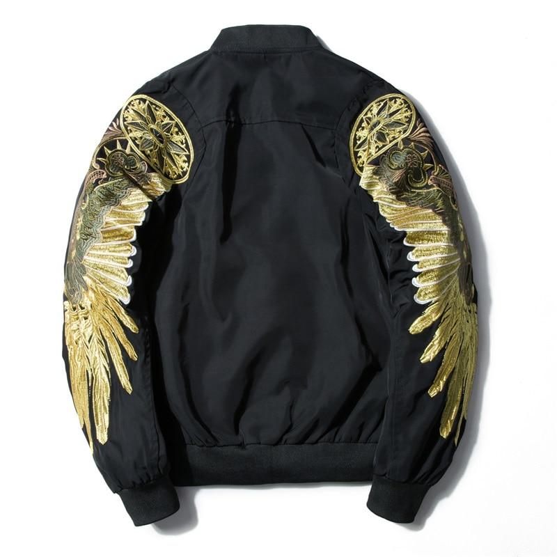 Мужская куртка-бомбер, с золотыми крыльями орла, на весну и осень