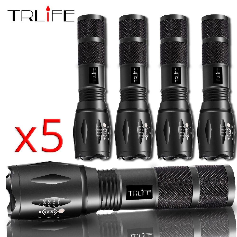 Тактический светодиодный фонарик 1/3/5 шт. V6/L2/T6, масштабируемый фонарь, водонепроницаемая велосипедная лампа, 5 режимов, аккумулятор 18650 или ...