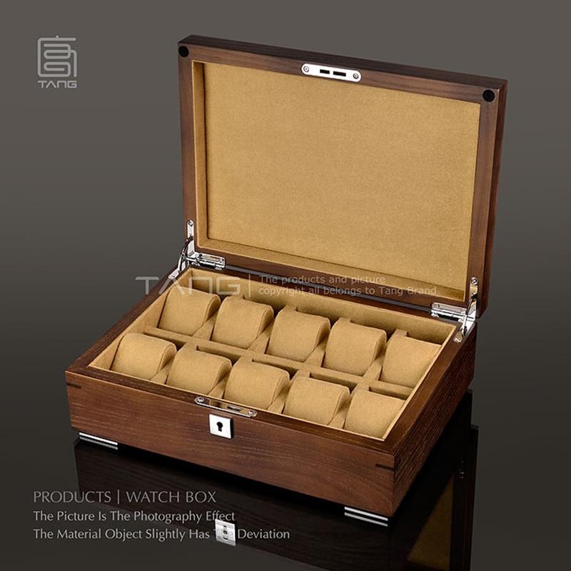 Organizador de reloj de madera con 10 ranuras, cajas de almacenamiento de relojes marrones, caja de exhibición de Joyas de moda, caja de regalo