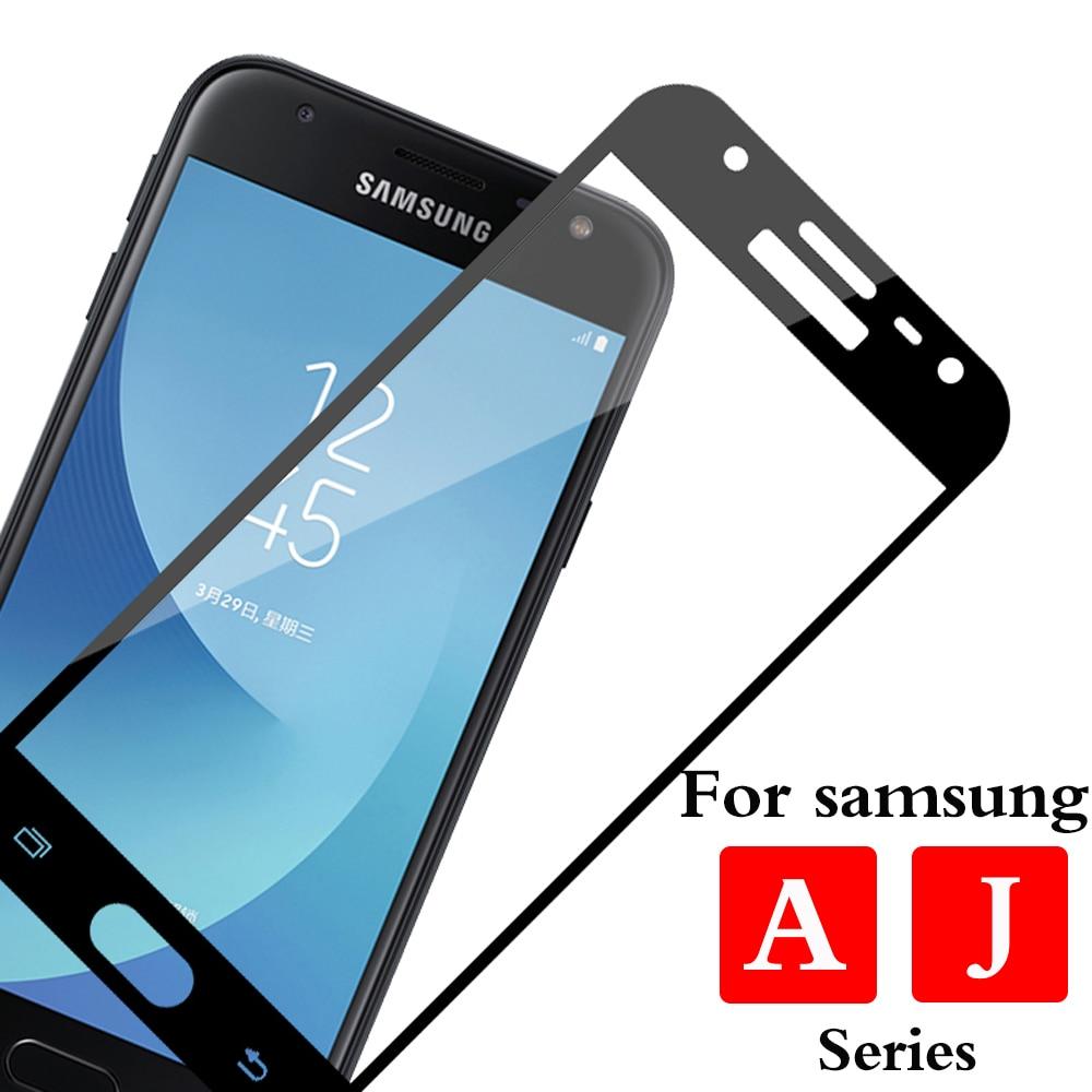 Protector de cristal para Samsung Galaxy a3 a5 j3 j4 j5 j6 j7 2016, 2017 de 2018 Glas película para Samsung j 3 4 5 5 5 6 6 7 de la cubierta completa pantalla Te
