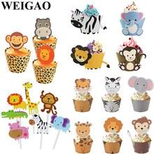 WEIGAO-décoration de gâteau singe Lion   Décor Jungle pour fête danniversaire, décor demballage de Cupcake, fournitures de fête danniversaire pour enfants