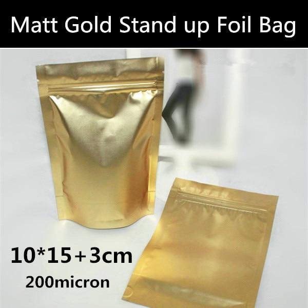100pcs/lot 10cm*15cm+3cm(Bottom) 200mic Matt Gold Stand up Zip Lock Packaging Bag Fresh Food/Freezer Storage Bag