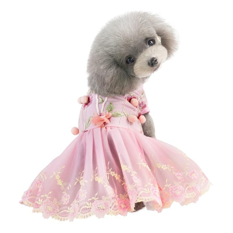 Ropa de perro Primavera Verano vestido con bordado cachorro vestido de fiesta ropa cachorro para perros pequeños y medianos