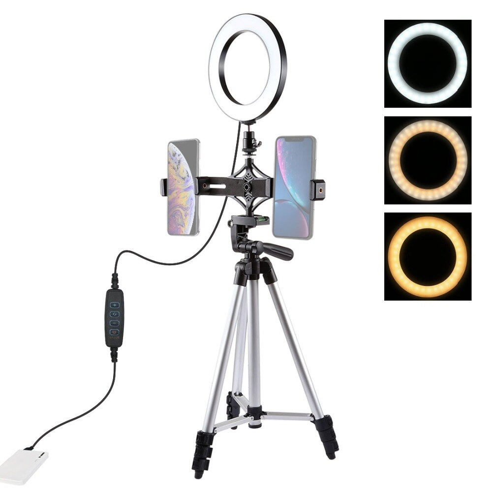 Soporte de trípode PULUZ + soporte de teléfono Dual de transmisión en vivo + Kits de luz de vídeo de anillo LED de 6,2 pulgadas Vlogging