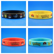 4 pçs na moda encantos jogo pulseira pokemon go silicone pulseiras masculino pikachu squirtle charmander pulseiras para crianças
