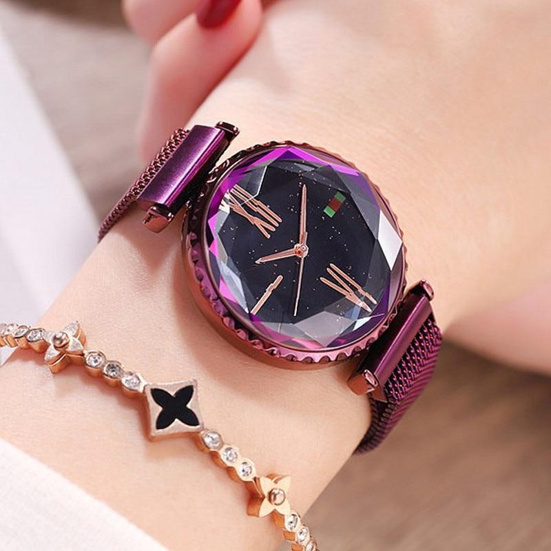 Top Brand Luxury Women Watches Woman Dress Crystal Watch Fashion Ladies Quartz Watches Female Simple Magnet Buckle Wristwatch enlarge
