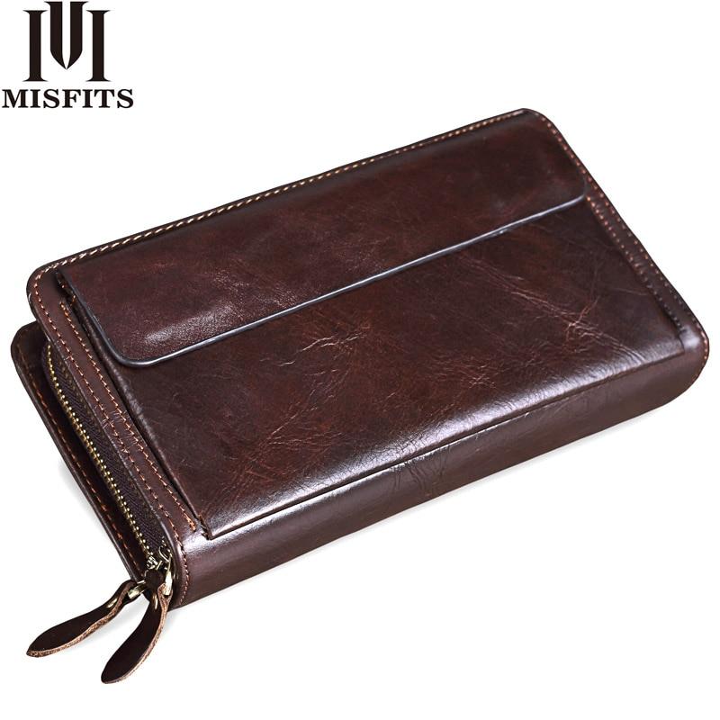 MISFITS men clutch wallets genuine leather brand designer vintage long wallet card holder male large