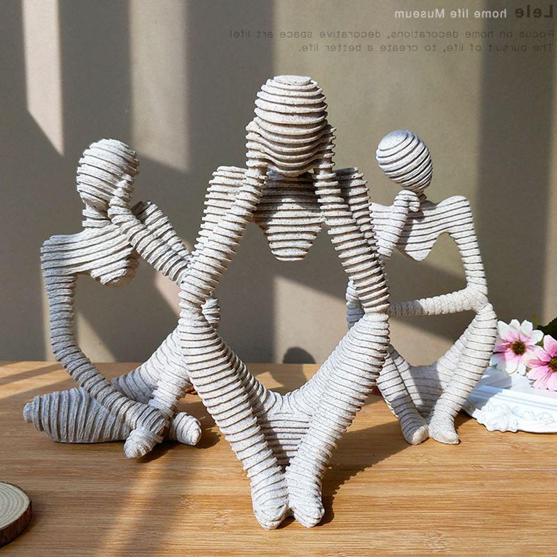 Escultura de personajes de piedra arenisca abstracta del Norte, figuras creativas hechas a mano, decoración para el hogar, estatua de ornamentos 24