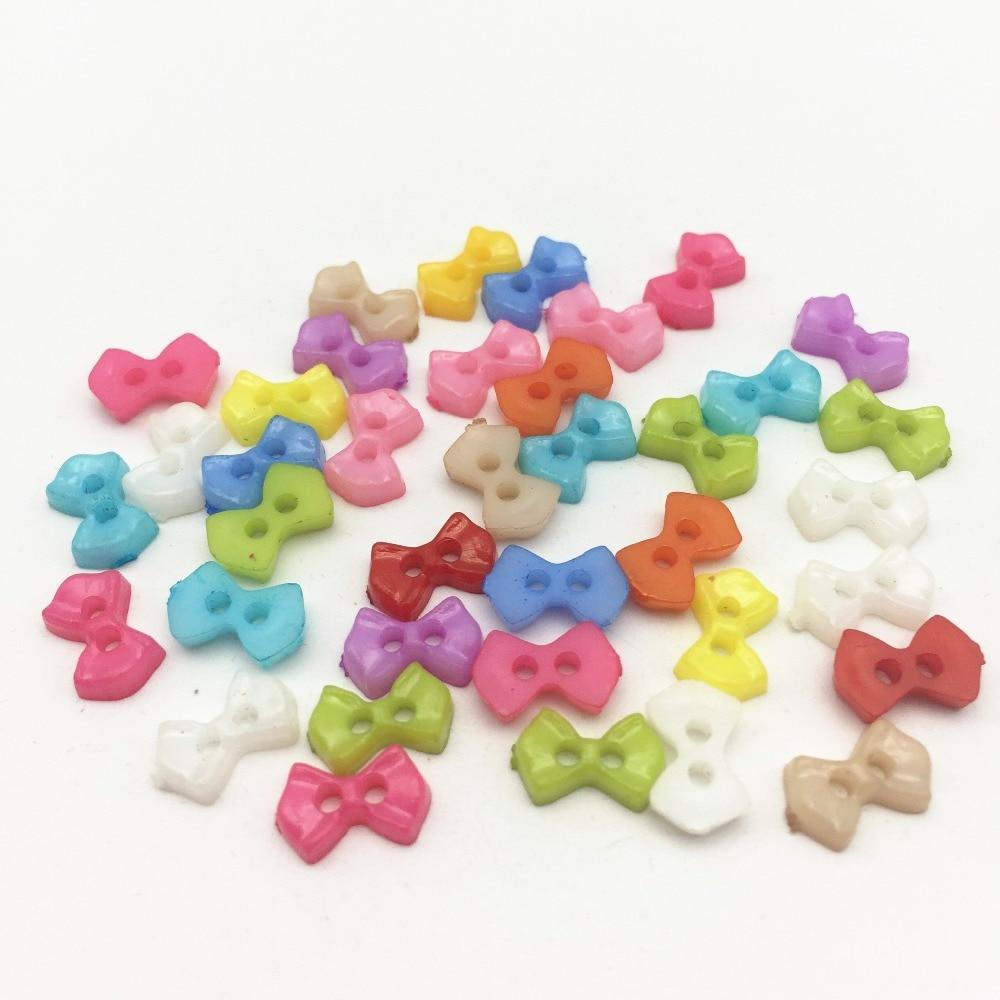400 個混合 6 × 10 ミリメートルミニ小型プラスチック弓ボタン縫製人形服装飾スクラップブックcardmaking