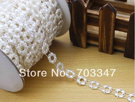 ¡Venta caliente! 6 rollos (20 yardas/rollo) ajuste de cuentas de perlas de flor redonda de 12mm en marfil, ajuste de costura, envío gratis