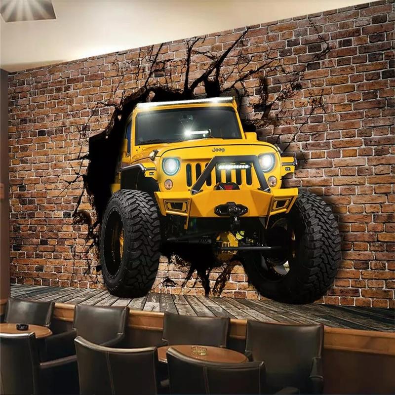 Custom car broken wall 3D personality wallpaper mural ktv background wall high-grade waterproof silk material недорого