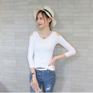 Strapless shoulder Tops Women's T-Shirt Slim Thin Sexy Strapless Long Sleeve Fall Winter New V-neck Top A131