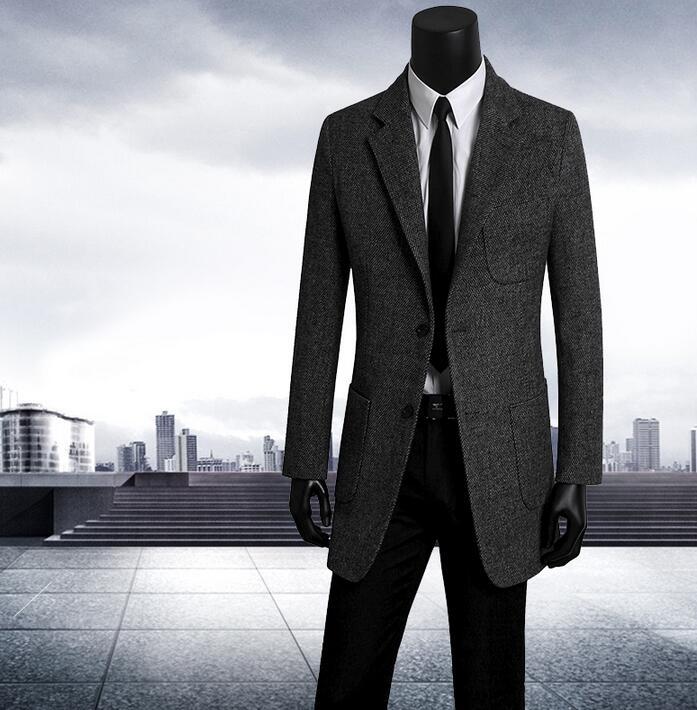Vestuário jovem terno do lazer dos homens coreano magro single-breasted casaco de lã homens trench coat longo casaco masculino preto cinza marrom
