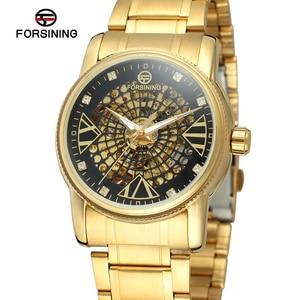 Fashion Forsining Top Brand Luxury Skeleton Watch Men Automatic With Stones Stainless Steel Bracelet Trendy Latest Wristwatch