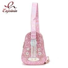 Style de guitare à la mode rose et argent Laser diamant cuir Pu sac à bandoulière de jeune fille sac à bandoulière décontracté poitrine sac fourre-tout pochette rabat
