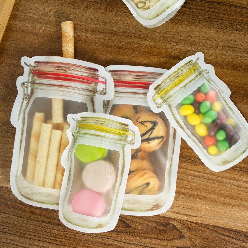 Bolsa Ziplock de polietileno, nueva, 2 tamaños, plástico resellable, plástico transparente, embalaje resellable, almacenamiento de alimentos, bolsas de sellado