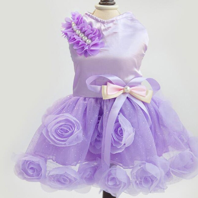 Ropa de perro mascota primavera y verano vestido de boda de moda rosa perla arco vestido falda vestido de noche mascota traje DC820