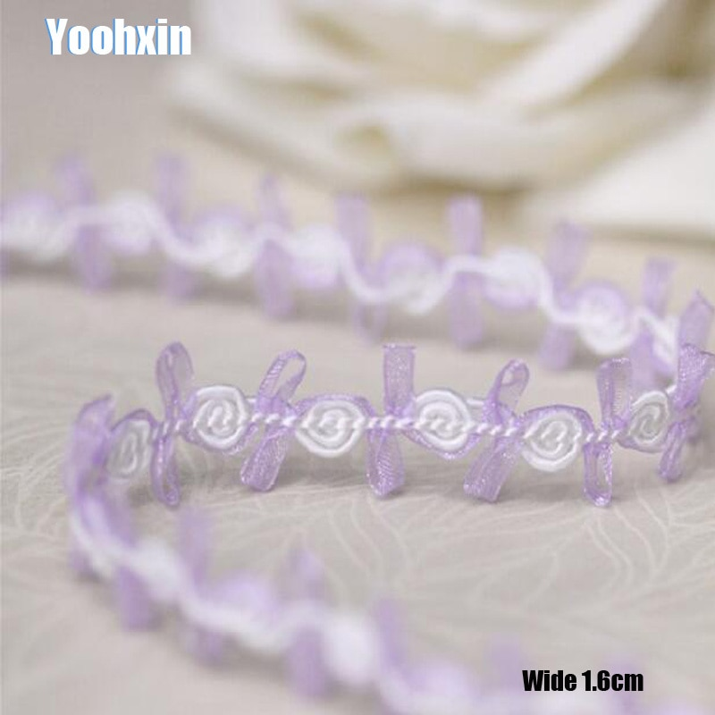 1,6 CM de ancho nuevo bordado púrpura flor encaje tela cinta DIY costura aplique cuello flecos artesanía boda guipur Decoración