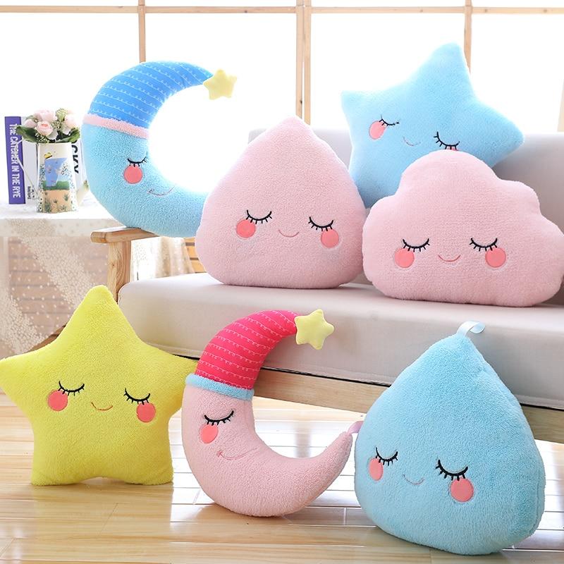 sky series plush toy stuffed soft cartoon cloud water moon star plush pillow cute sofa cushion for kids birthday gift