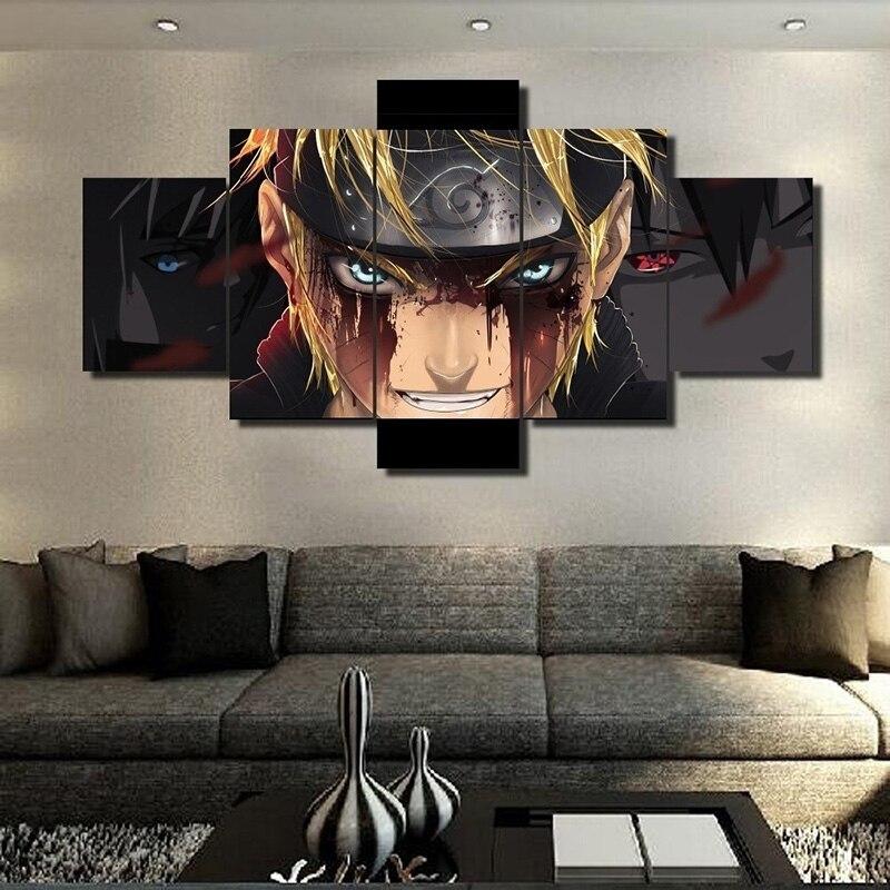 5 peças decoração da casa arte da parede hd impresso naruto anime quadros em tela arte da parede para o quarto sala de estar decoração da parede sem moldura