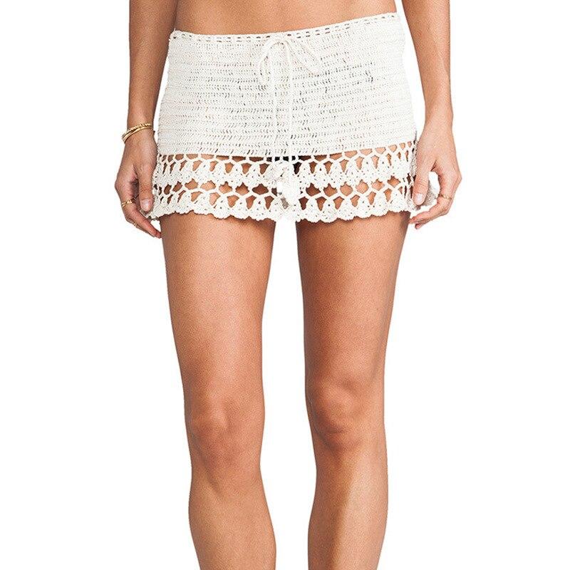 Hecho a mano de punto Bikini A-line Falda caliente Sexy minifaldas micro mano Crochet Boho playa Sun-protective ropa Falda Jupe Saias