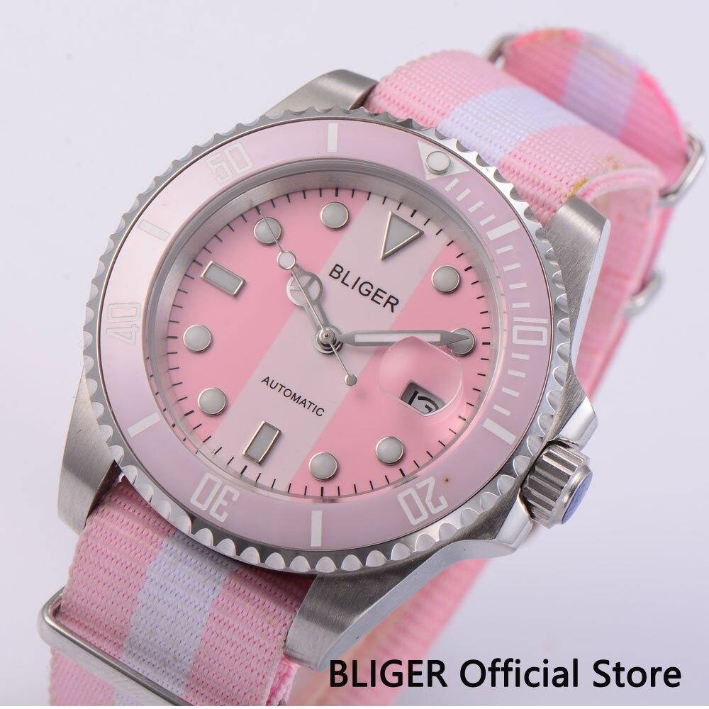Estilo verão adolescente relógio 40mm rosa relógio automático vidro safira miyota movimento alça de náilon