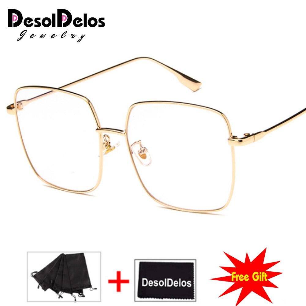 Luxe femmes carré lunettes Vintage lunettes cadre optique or métal unisexe lunettes clair lentille lunettes bleu clair lunettes