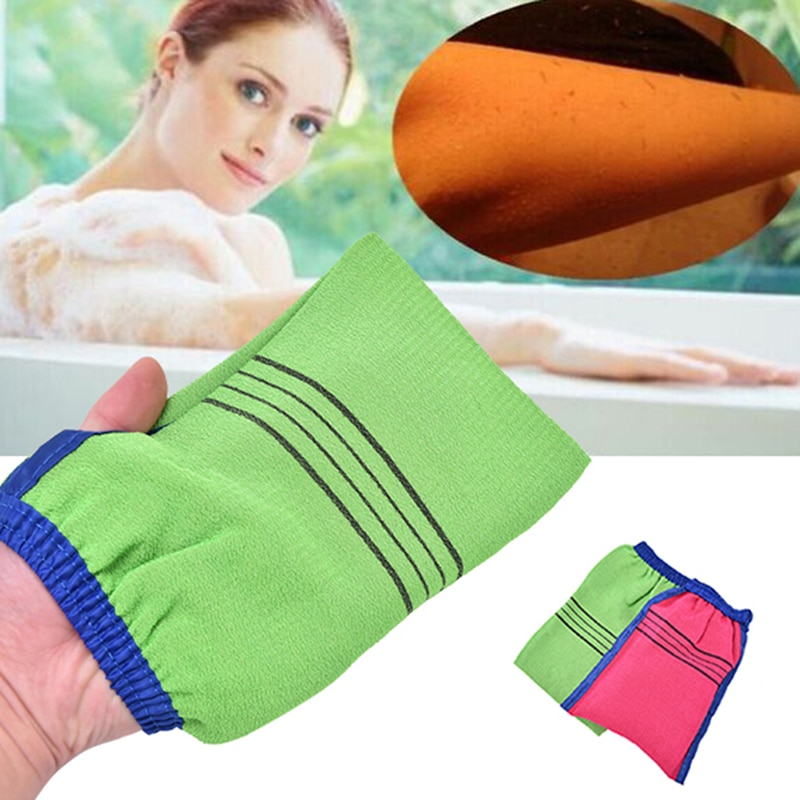 1pc Shower Spa Exfoliator Two-sided Bath Glove Body Cleaning Scrub Mitt Rub Dead Skin Removal Magic