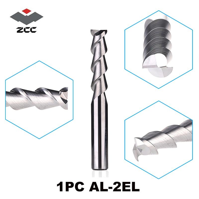 1 unidad de AL-2EL D3.0-D20.0 ZCC. CT carburo 2 fresas de extremo cnc aplanadas de largo filo con herramientas de fresado de mango recto