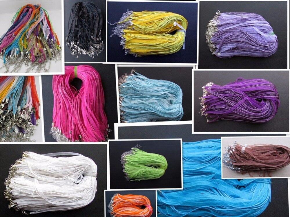 10 unids/lote 17-19 pulgadas ajustable colores surtidos Organza cinta collar cordón con cierre de langosta para hacer joyería DIY