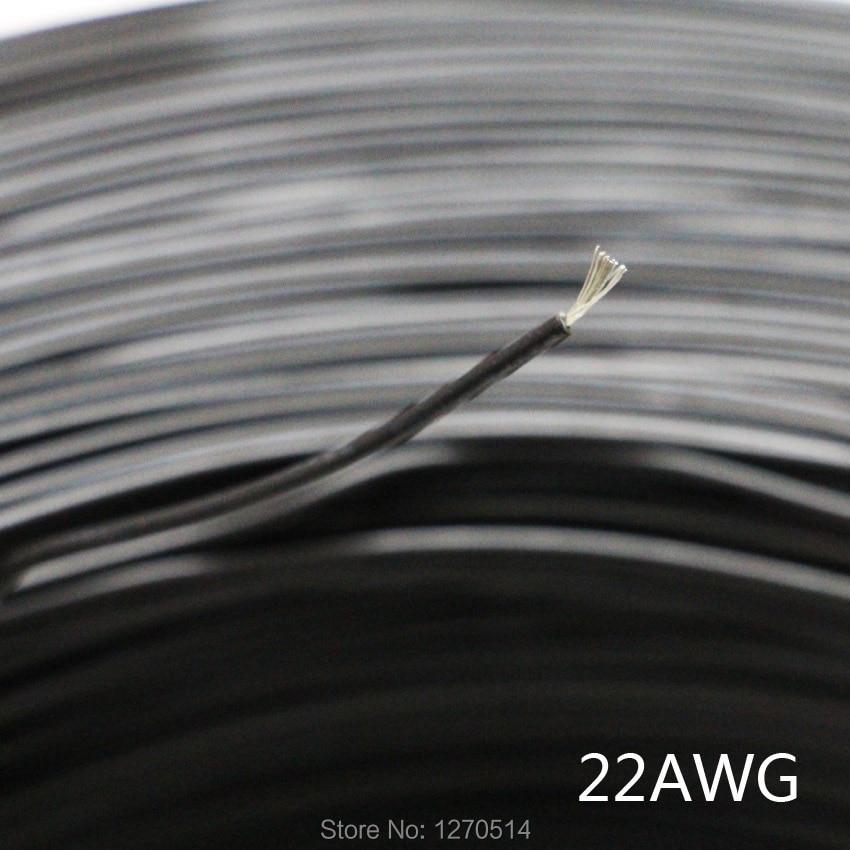 20 m/lote en conserva de cobre 22AWG negro cable con aislamiento de PVC de alambre de cable eléctrico cable de iluminación LED extensión de cable electrónico DIY