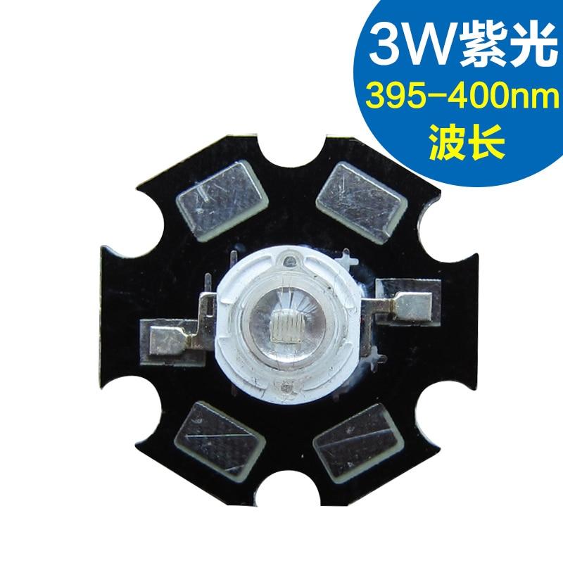 Bombilla alta 3W LED UV violeta led y placa de aluminio aqualite longitud de onda 395-400nm directo de fábrica
