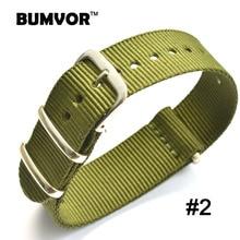 Classic Strong bracelet Militaire Vert Armée de lotan tissu En Nylon Montre bracelets Sangles Tissées Bandes Boucle ceinture 16 18 20 22 24 mm