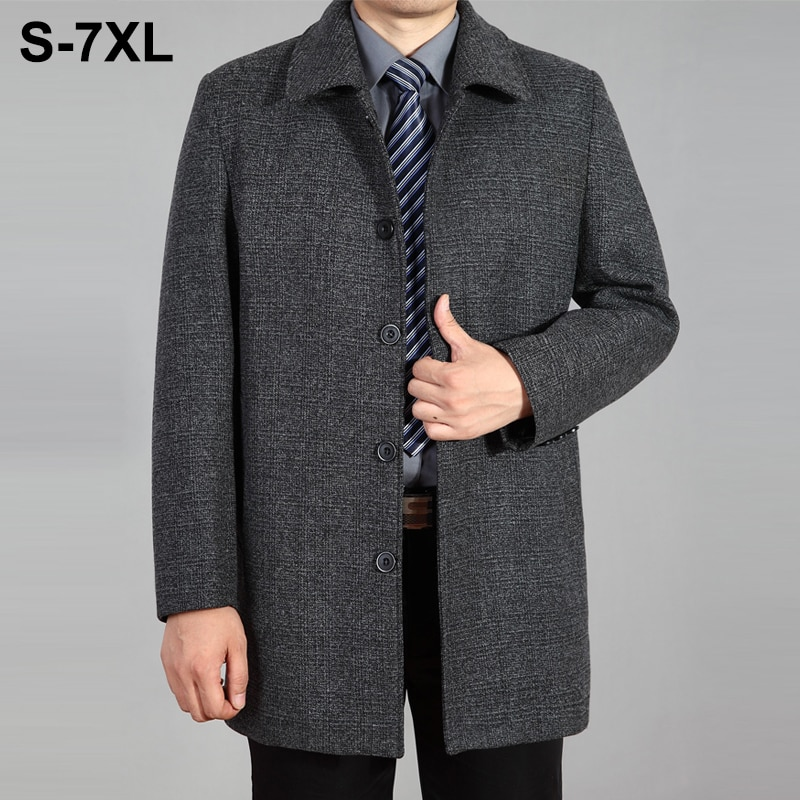 2021 جديد الرجال معطف الصوف الخريف معطف شتاء الصوف معطف طويل رجل peaquat الرجال الصوف سترة معطف الشتاء للرجال حجم كبير 7XL