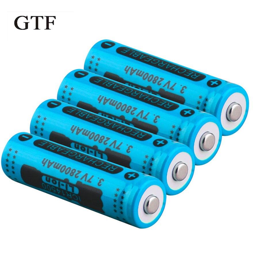 GTF 2/6/8 Uds 3,7 V 14500 2800mAh capacitancia batería recargable de iones de litio para linterna azul 14500 batería de litio