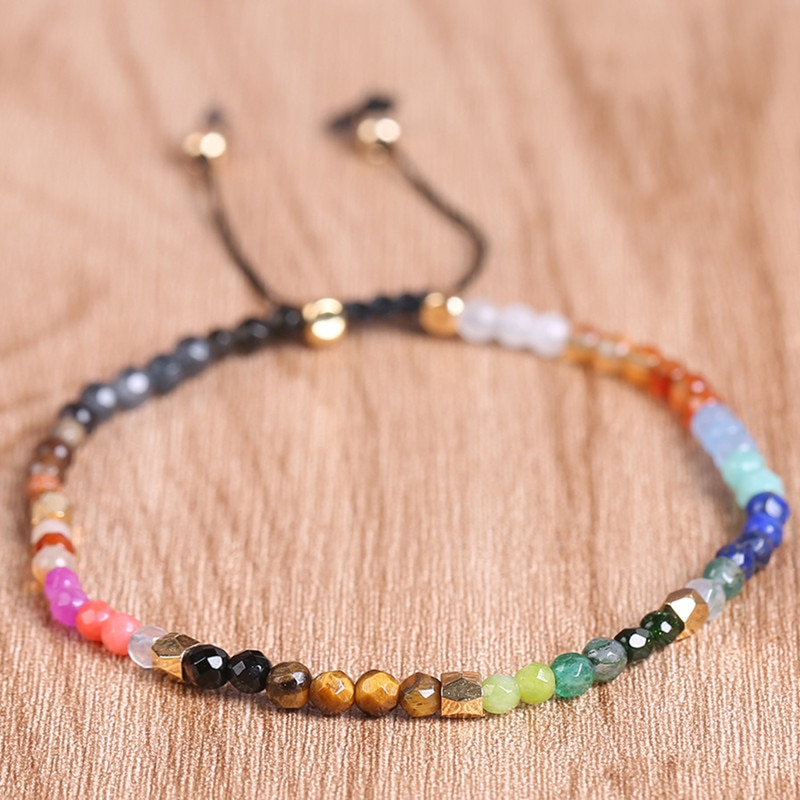 Diezi 12 constellation lucky pedra contas simples pulseira 3mm contas ajustável pulseira bohemia unisex feminino chakra pulseiras