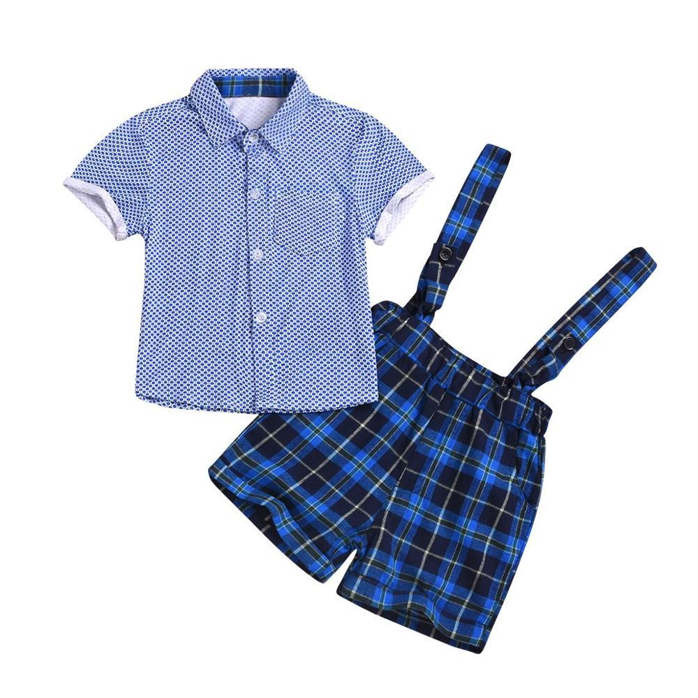 Chico bebé niño camisa de manga corta azul + cuadros babero Pantalón Bebe poco Caballero ropa conjunto