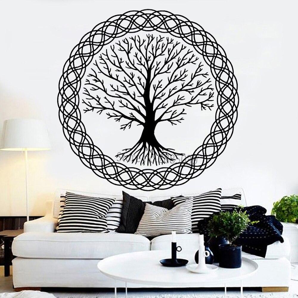 Calcomanía de vinilo para pared Zen Meditation, arte de árbol de la vida, decoración familiar, murales naturales, pegatinas de pared, calcomanías de diseño de árbol grande único LC1022