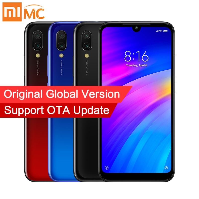 Мобильный телефон Xiaomi Redmi 7 с глобальной версией, 3 ГБ, 32 ГБ, Восьмиядерный процессор Snapdragon 632, 12 МП, AI, двойная камера, 6,26 дюйма, HD экран, 4000 мАч, CE FCC