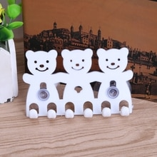 حامل فرشاة الأسنان الحائط شفط كأس 5 موقف لطيف الكرتون الدب أطقم حمام # Sep.07