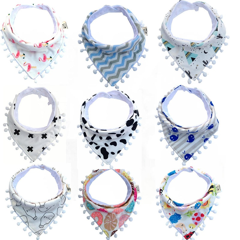 Baby bibs cotton lace tassel cute cartoon triangle cute bandana bibs infants towel burp cloths newborn self feeding care