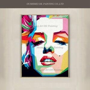 Новая ручная роспись, известный марилин Монро, поп, Ahmad, холст, портрет, масляная живопись, абстрактный актер, акриловые картины с персонажам...