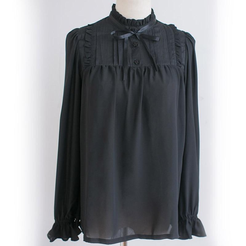 Classic Sweet Ruffled High Collar Long Sleeve Black/White Chiffon Girl's Lolita Blouse Women's Top with Bow