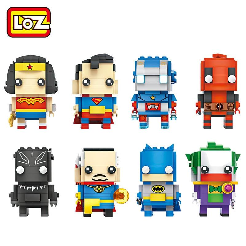 LOZ bloques superhéroes juego de bloques de construcción Mujer Maravilla Superman Capitán América Batman Joker Deadpool ladrillos cabezas figura Juguetes