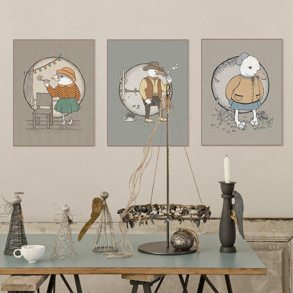 Moderno Vintage Animal pájaro lienzo con dibujo de pato Póster Artístico impreso vaquero occidental imagen de pared niños habitación pintura decoración para el hogar sin marco